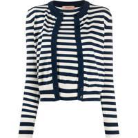 Twin-Set Layered Style Striped Cardigan - Branco