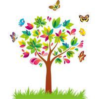Adesivo De Parede ÁRvore- Verde & Pink- 70X50Cm-Evolux