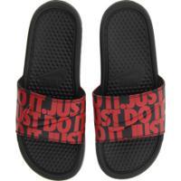 Chinelo Nike Benassi Jdi Print - Slide - Masculino - Preto/Vermelho