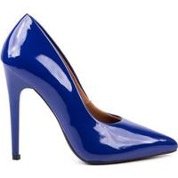 Scarpin Verniz Di Scarp Salto Alto Leve Festa Feminino - Feminino-Azul