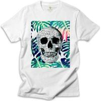 Camiseta Surf Cool Tees Caveira Tropical Shakespeare - Masculino-Branco