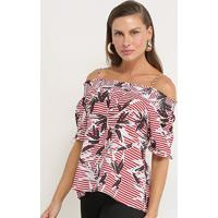 Blusa Lily Fashion Listrada Alcinha Feminina - Feminino-Vermelho
