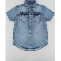 Camisa Jeans Infantil Com Bolsos Manga Curta Azul Médio