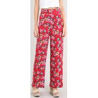 Calça Feminina Pantalona Estampada Floral Vermelha