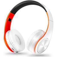 Fone De Ouvido Bluetooth Dobrável - Branco E Laranja