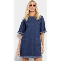 d5326c607 ... Vestido Tshirt Dress Jeans Cantão Feminino - Feminino-Azul Petróleo