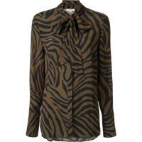 Layeur Blusa Com Estampa De Zebra - Marrom