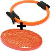 Kit Anel De Pilates + Disco Inflavel Equilibrio Cushion Disc Liveup - Unissex