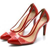Sapato Feminino Scarpin Salto Alto Fino Em Verniz Vermelho Com Transparência Lançamento