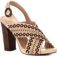 Sandália Shoestock Salto Bloco Handmade Feminina - Feminino-Caramelo