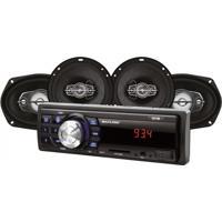 Kit Automotivo Mp3 One Multilaser Quatro Alto Falantes + Rádio Fm + Entrada Sd E Usb + Função Relógio