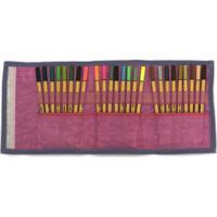Estojo Escolar Feminino Para Canetinhas Ls Ee1230 Estampa Gatinhos Coloridos Com Divisórias Em Elástico