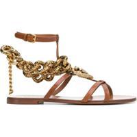 Dolce & Gabbana Sandália Devotion Com Corrente - Marrom