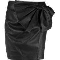 Redvalentino Lambskin Bow Detail Mini Skirt - Preto