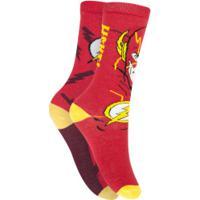 Kit De Meias Cano Alto Liga Da Justiça Flash Com 2 Pares - 27 A 30 - Infantil - Vermelho/Amarelo