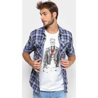 5b1331383 Netshoes; Camisa Colcci Manga Longa Xadrez Bolso Masculina - Masculino-Azul