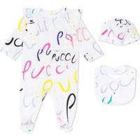 Emilio Pucci Junior Pijama Com Estampa De Logo E Babados - Branco
