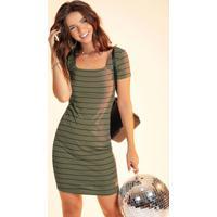 Vestido Curto Com Listras Verde