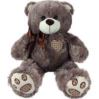 Urso De Pelúcia Coração Marrom Acinzentado