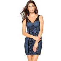 Vestido Lança Perfume Curto Renda Azul
