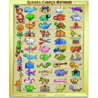 Brinquedo Educativo Quebra-Cabeça Metades, Tabuleiro Com 55 Jottplay Verde