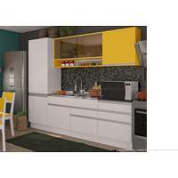 Cozinha Modulada Compacta 5 Módulos 100% Mdf Branco/Gold - Glamy
