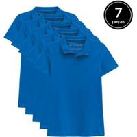Kit 7 Camisas Polo Basicamente Feminino - Feminino-Azul Claro