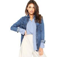 Camisa Jeans Lança Perfume Estonada Azul