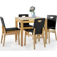 Conjunto De Mesa De Jantar Com 4 Cadeiras Tucupi 80Cm - Acabamento Natural E Laca Preto