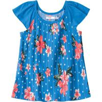 Blusa Floral Com Recortes - Azul & Rosa - Juvenilmalwee