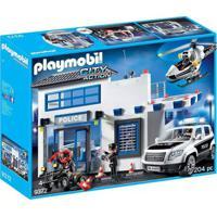 Playmobil - Posto Policial Com Heliponto, Carro De Polícia E Helicóptero - 1760 - Sunny