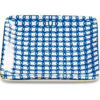 Mini Prato Quadrado Geomã©Trico- Branco & Azul Escuromart