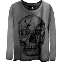 Camiseta Estonada Manga Longa Skull Fantasy