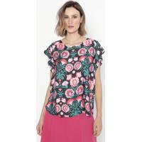 Blusa Acetinada & Floral- Preta & Rosa- Cotton Colorcotton Colors Extra