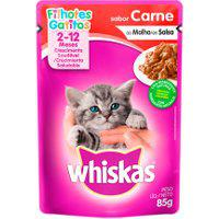 Ração Para Gatos Whiskas Filhotes 2-12 Meses Sachê Sabor Carne Ao Molho 85G