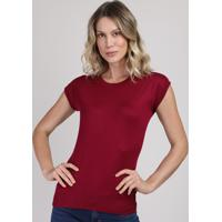 Blusa De Tricô Feminina Muscle Tee Decote Redondo Vinho