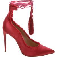 Scarpin Lace Up Satin Pink | Schutz