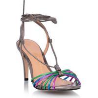 Sandália Tiras Transpassadas Chumbo Metalizada Colorida