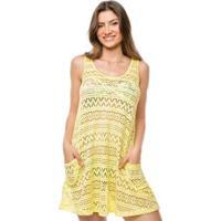 Saída De Praia Vestido Curto Com 2 Bolsos - Feminino-Amarelo