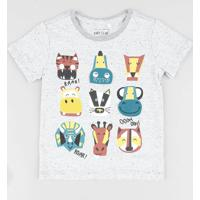 Camiseta Infantil Com Estampa Interativa De Bichos Manga Curta Gola Careca Cinza Mescla Claro