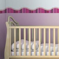 Faixa Decorativa Quartinhos Adesiva Infantil Lapis De Cor Rosa 10Mx10Cm - Tricae