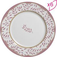 Conjunto De Pratos Rasos Flat Folhagem- Branco & Rosa Clscalla Cerâmica