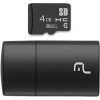 Pen Drive 2 Em 1 Leitor Usb + Cartão De Memória Classe 4 4Gb Preto Multilaser - Mc160 Mc160