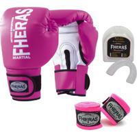 Kit Boxe Muay Thai Fheras New Orion Luva + Bandagem Orion Rosa 006
