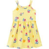Vestido Floral Com Franzidos- Amarelo & Rosa- Kids