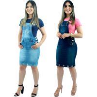 Kit 2 Jardineiras Jeans Moda Evangélica Anagrom Azul