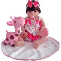Boneca Laura Doll - Reborn - Baby Aurora Com Vestido De Bolinhas - Shiny Toys