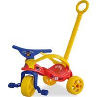 Triciclo Mickey Disney Com Empurrador E Proteção Vermelho Xalingo