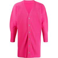 Homme Plissé Issey Miyake Ribbed Button Front Light Coat - Rosa