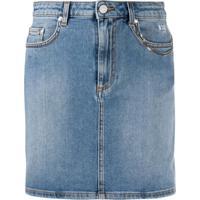 Msgm Saia Jeans Com Detalhe De Corrente - Azul